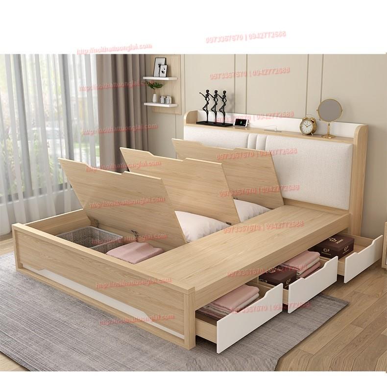 Giường ngủ đẹp thiết kế hiện đại có ngăn kéo GN6801