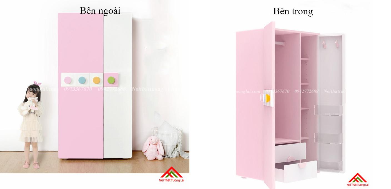 Tủ quần áo cho bé gái GA6811 hiện đại, tiện nghi