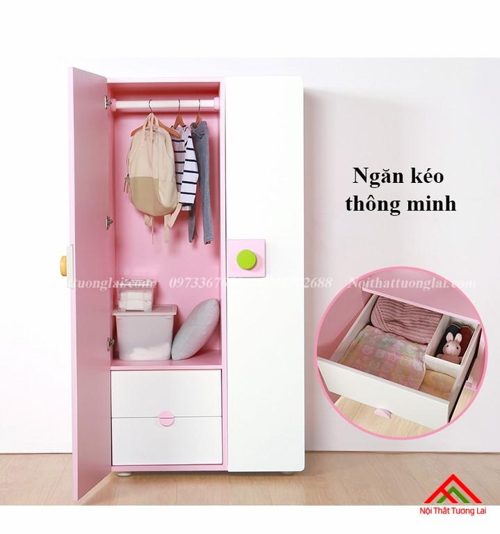 Tủ quần áo cho bé gái GA6811 hiện đại, tiện nghi 1