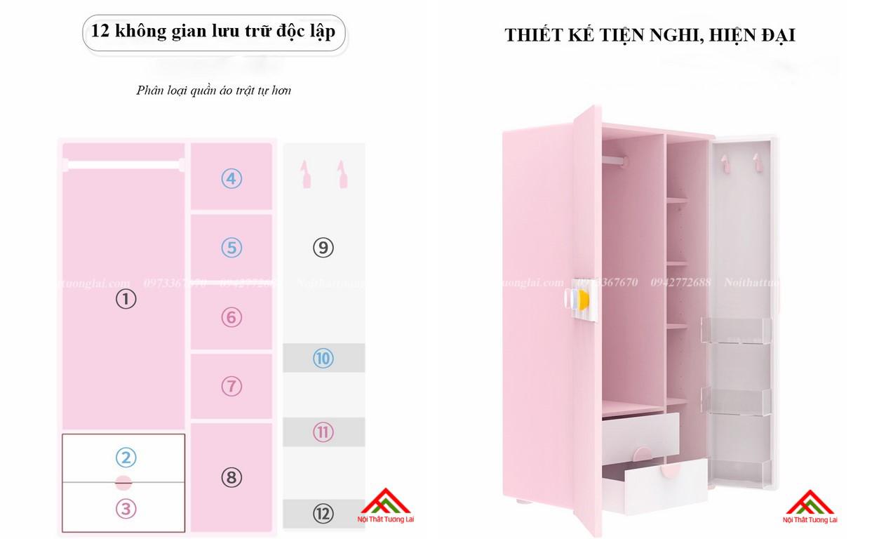Tủ quần áo cho bé gái GA6811 hiện đại, tiện nghi 7