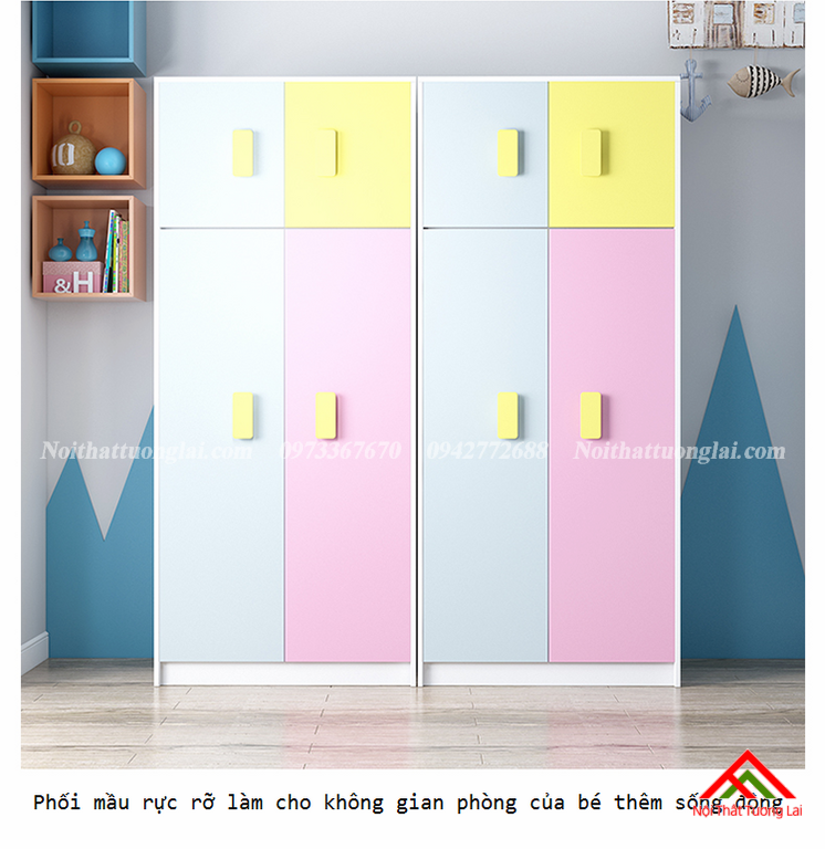 Tủ quần áo gỗ công nghiệp cho bé GA6810 2