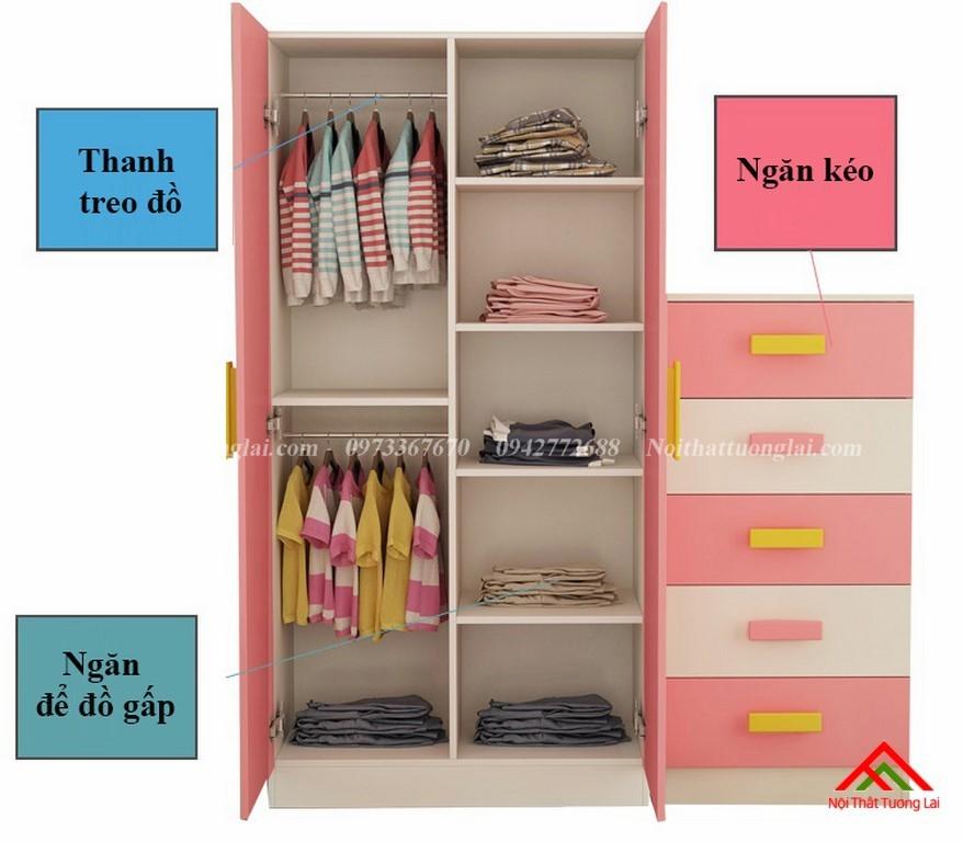 Tủ quần áo trẻ em QA6812 kiểu dáng mới 9