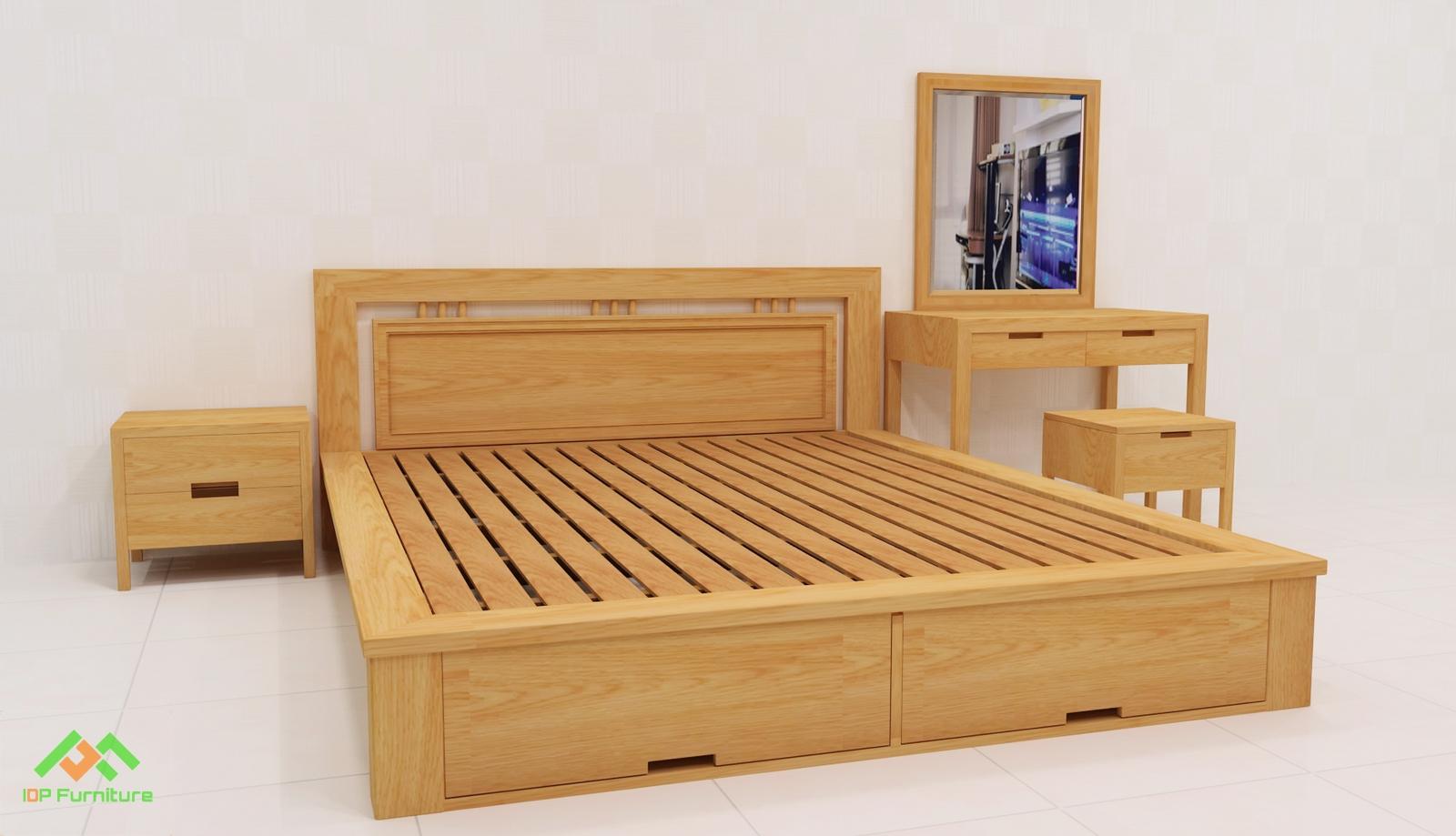 Giường ngủ gỗ sồi  phong cách hiện đại GN6811