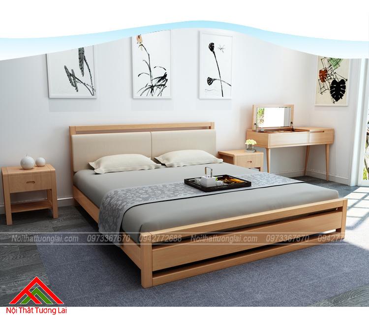 Giường ngủ gỗ Sồi tự nhiên GN6807