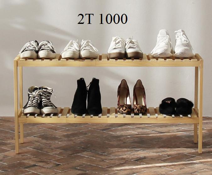 Kệ giày dép 2 tầng kích thước 100cm, gỗ thông USA, hàng Việt Nam xuất khẩu