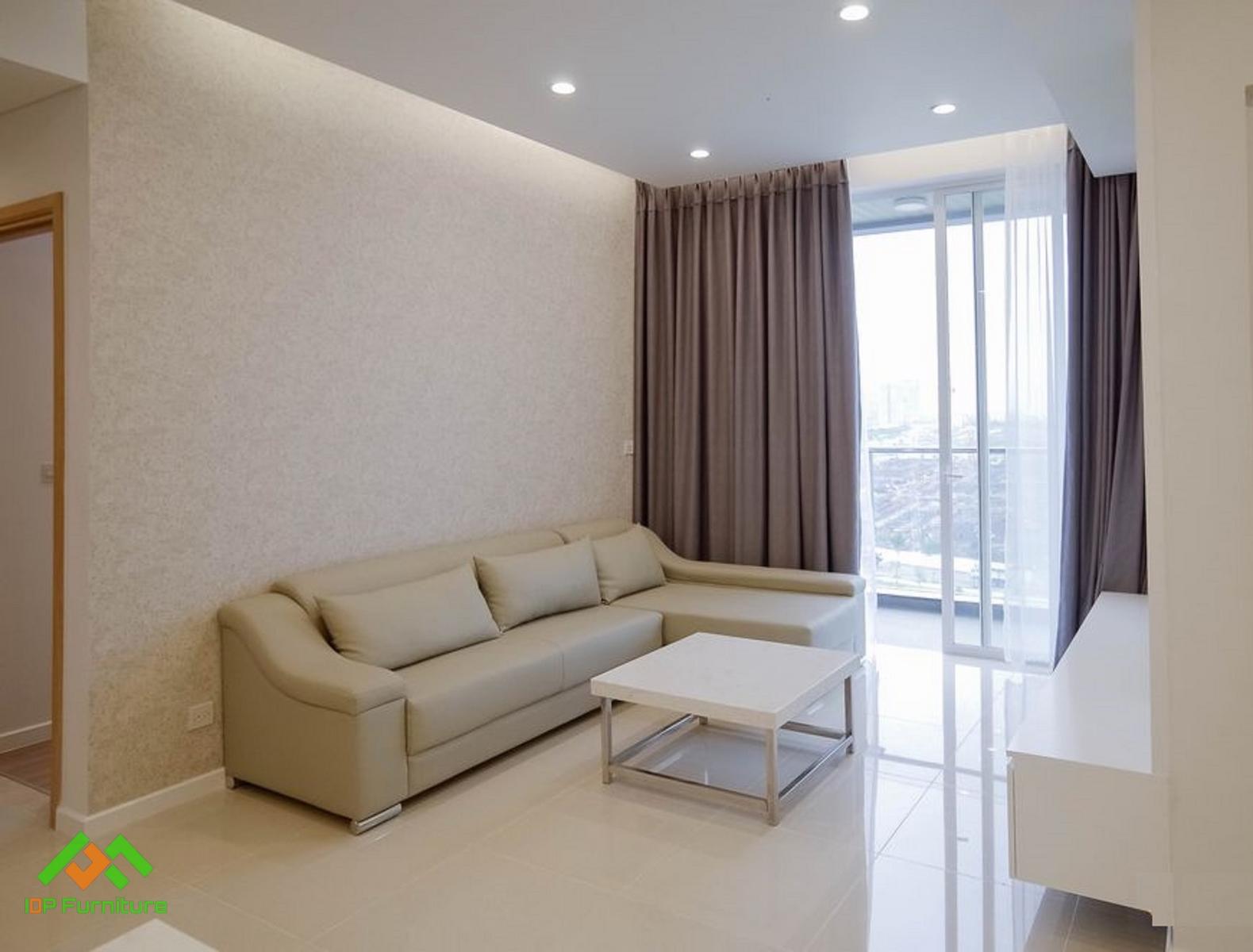 Sofa da màu kem cao cấp SF6806