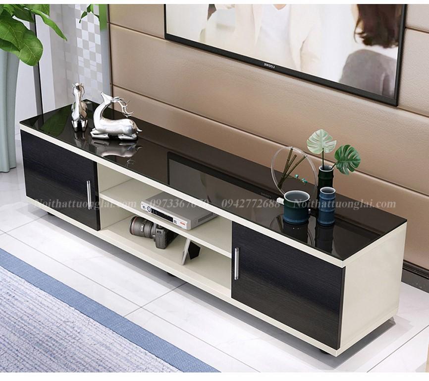 Kệ tivi gỗ công nghiệp KE6809 kết hợp mặt kính