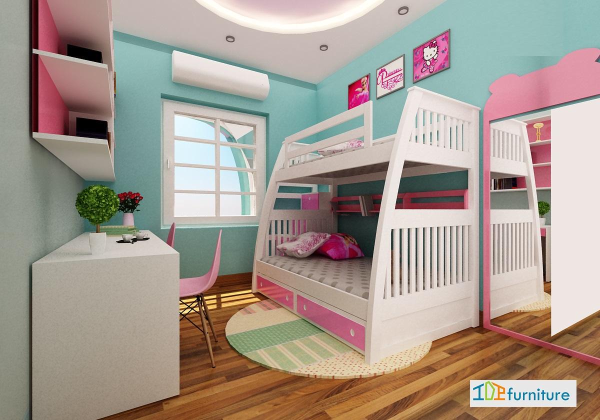 Phòng ngủ cho 2 bé gái  cực cool nhà chị Hà P3001 21B7 Green Star Phạm Văn Đồng