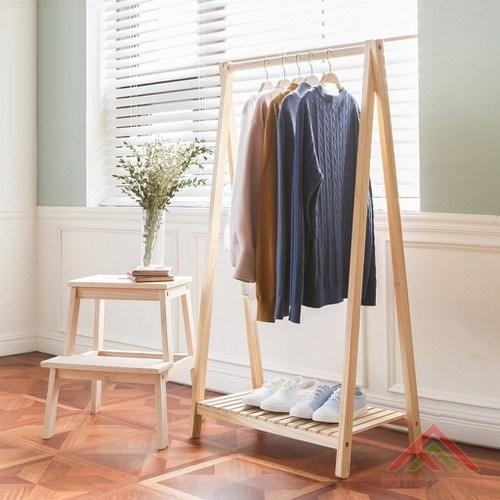 Giá Kệ gỗ treo quần áo chữ A 1 tầng, chất liệu gỗ thông tự nhiên