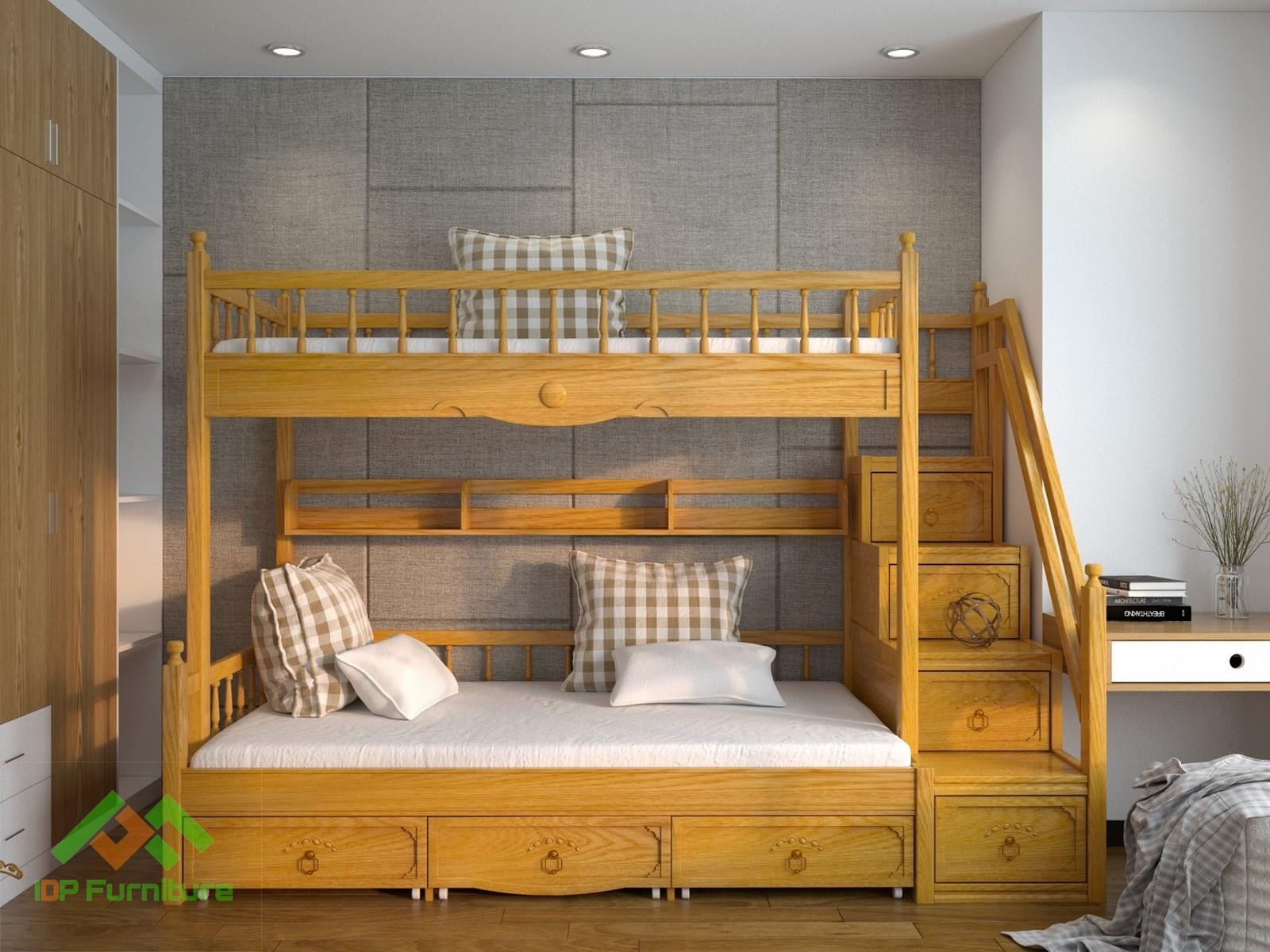 Giường tầng  gỗ tự nhiên cho bé GT6824