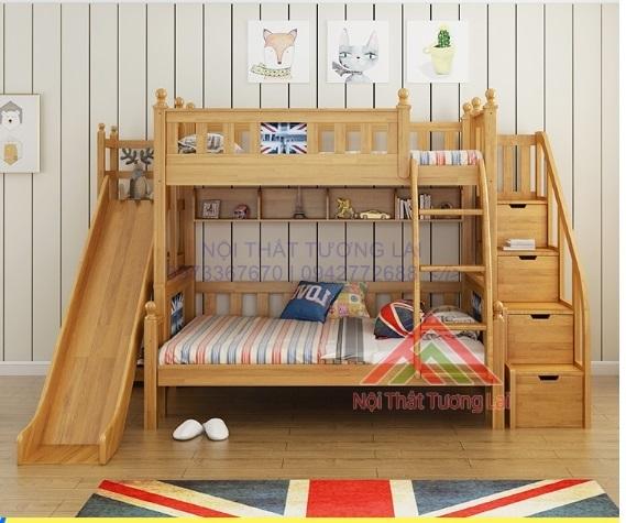 Giường 2 tầng có cầu trượt đẹp cho bé - An toàn, tiện dụng cho bé GT6827