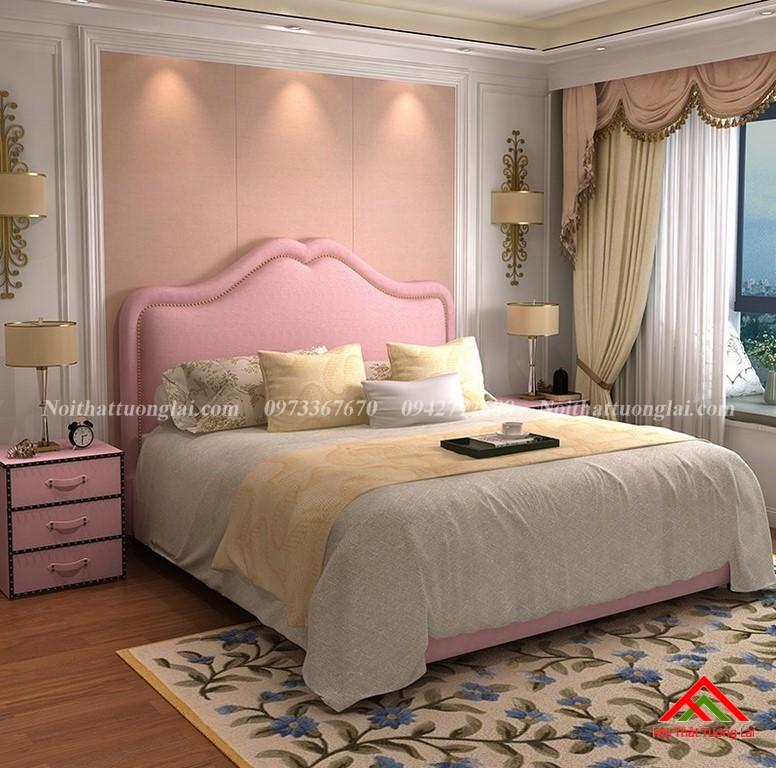 Giường ngủ bọc nỉ tân cổ điển GN6816