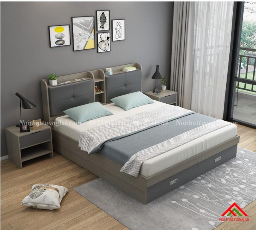 Giường ngủ đẹp có ngăn kéo ở đuôi giường GN6824