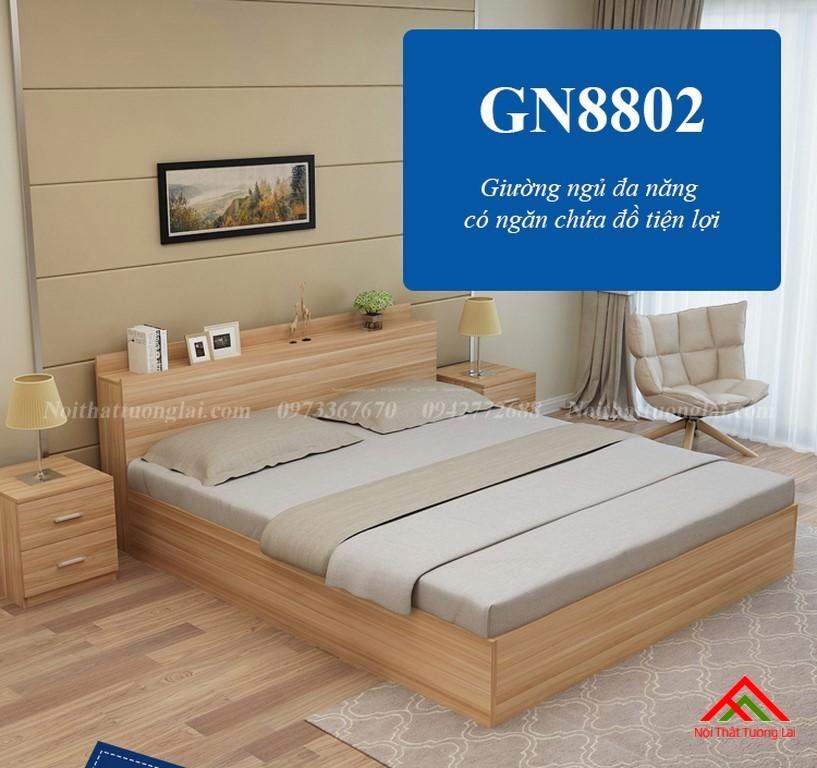 Giường ngủ đẹp hiện đại có ngăn chứa đồ GN8802