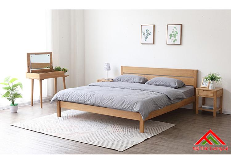 Giường ngủ gỗ sồi chân cao GN6810