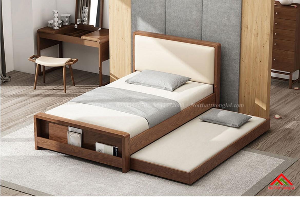 Giường ngủ gỗ tự nhiên có thêm giường phụ GN6823