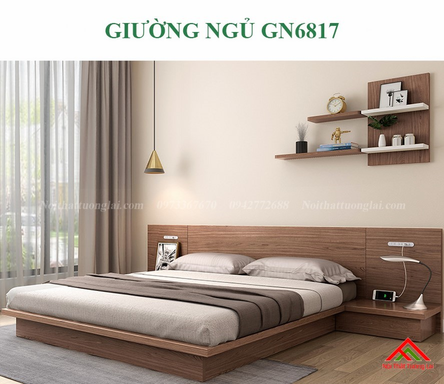 Giường ngủ kiểu Nhật đẹp, đa năng GN6817