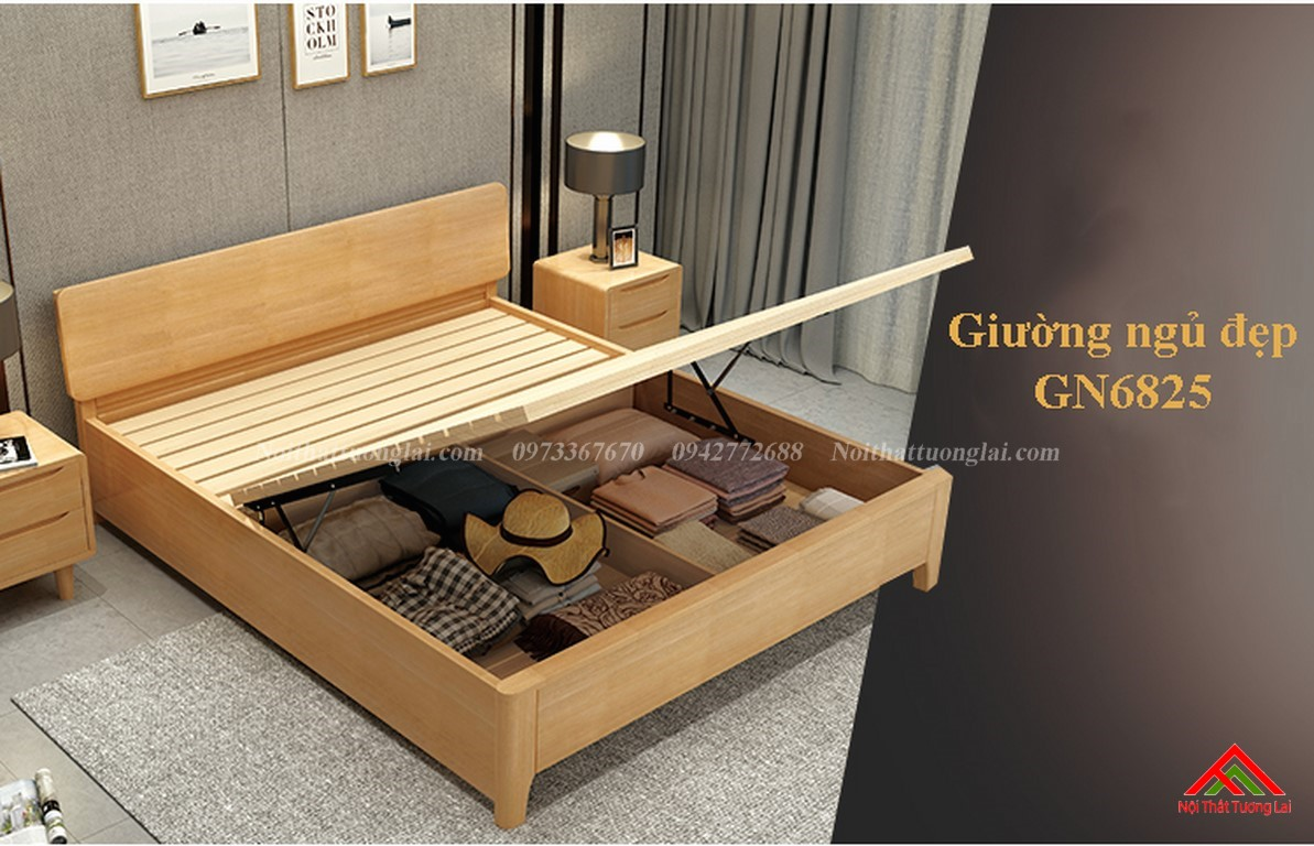 Giường ngủ thông minh có 3 ngăn lưu trữ đồ GN6825