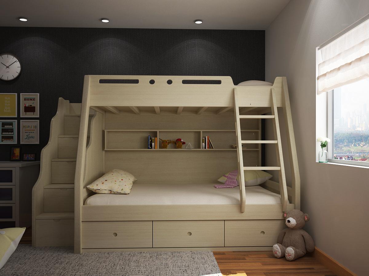 Giường tầng gỗ tự nhiên cho bé GT6828
