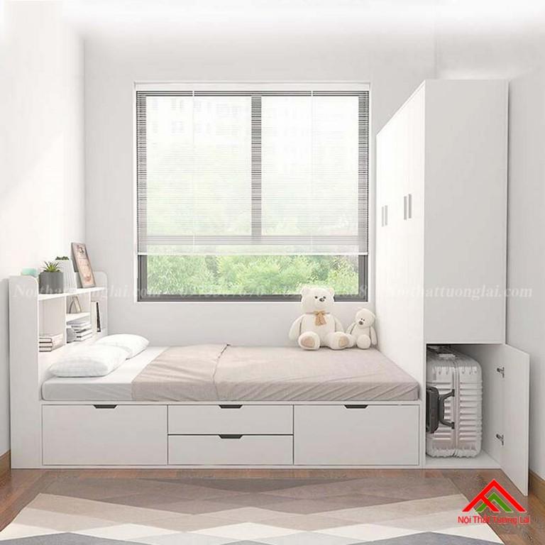 Giường trẻ em kết hợp tủ quần áo vô cùng tiện lợi GB6813
