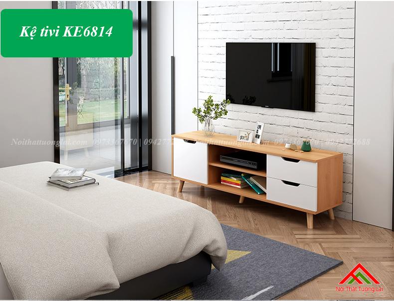 Kệ tivi gỗ đẹp chân cao KE6814