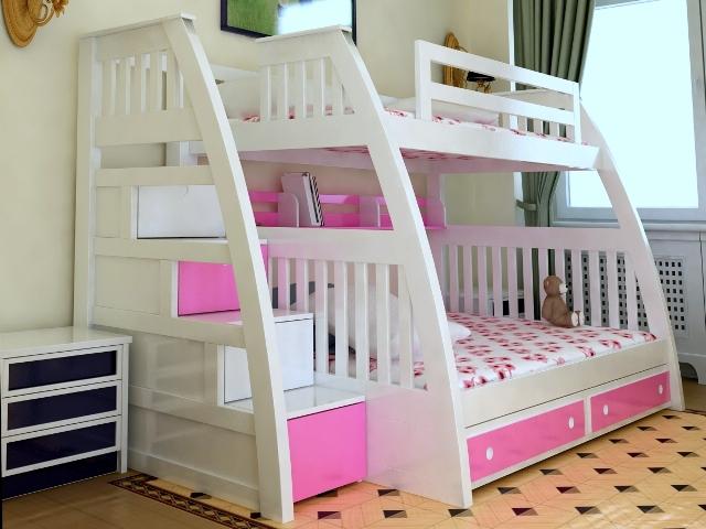 Giường tầng đẹp cho bé gái GT6808