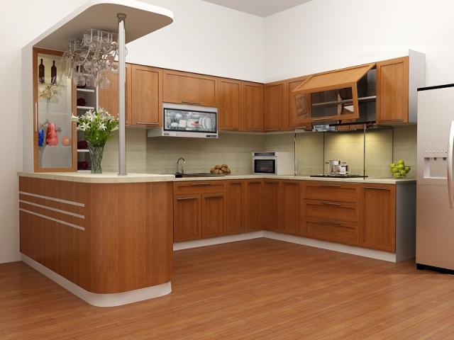 Mẫu thiết kế tủ bếp có quầy bar TB6806