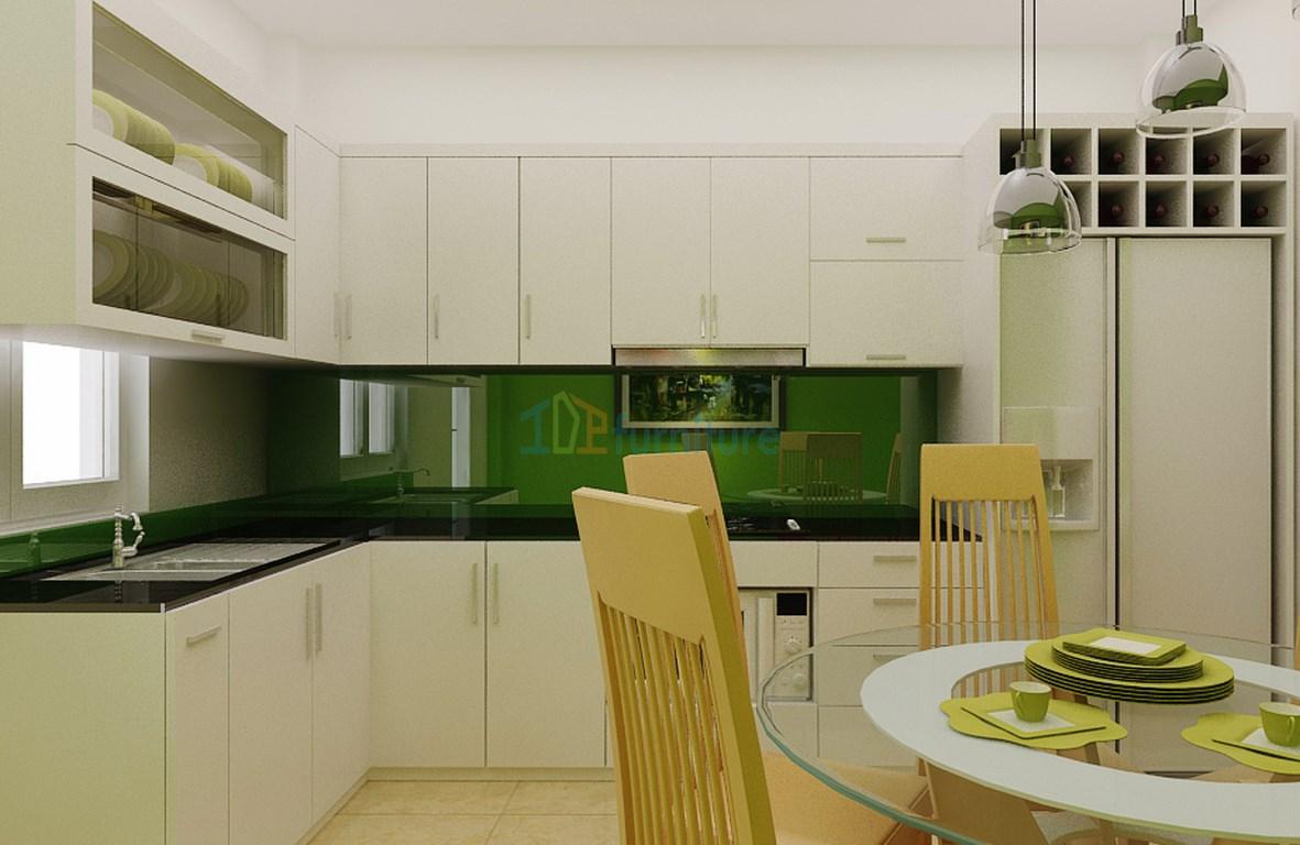 Mẫu tủ bếp Laminate đẹp hiện đại TB6810