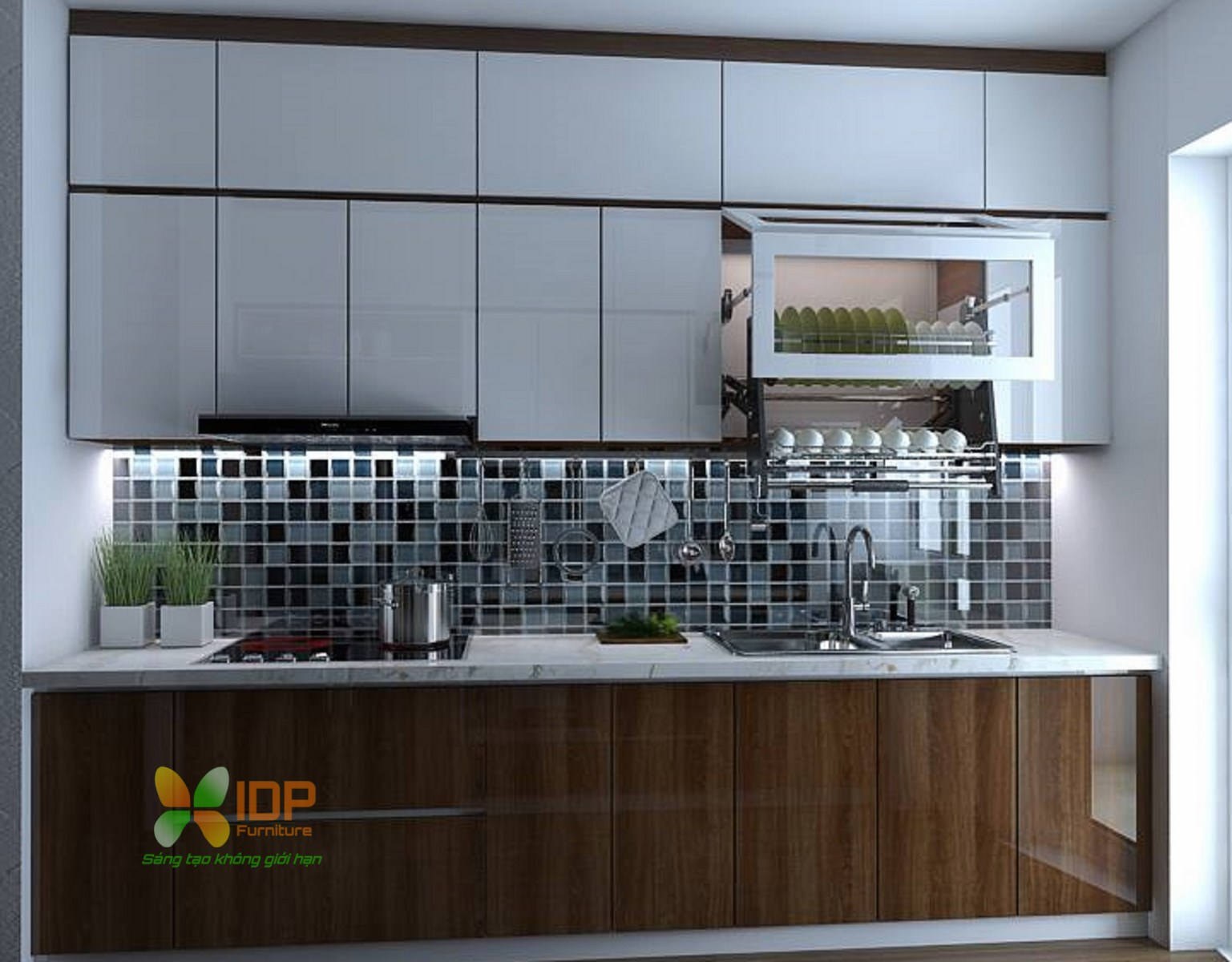 Mẫu thiết kế tủ bếp nhỏ đẹp TB6814