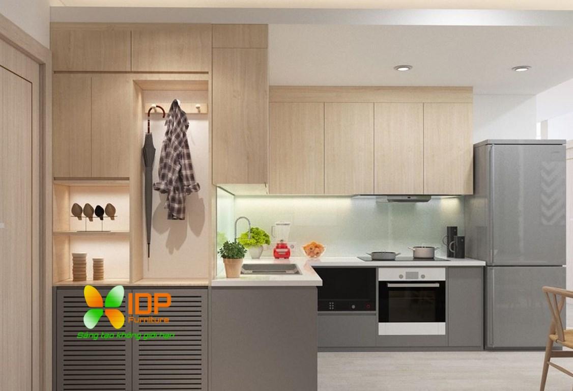 Thiêt kế tủ bếp nhỏ hiện đại TB6813