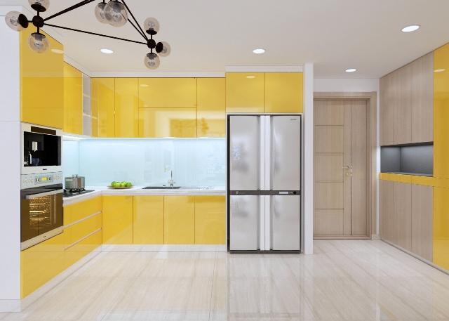 Tủ bếp acrylic bóng gương TB6807