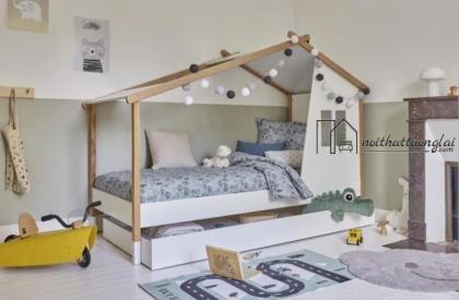 Giường ngủ mái nhà độc lạ cho bé GB6817