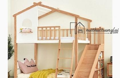 Giường tầng mái nhà độc đáo cho bé GT6834