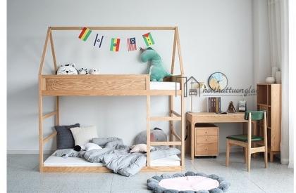 Giường 2 tầng trẻ em có mái nhà gỗ sồi tự nhiên GT6831